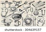 plate  bowl  stewpot  pan ... | Shutterstock .eps vector #304639157