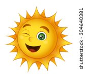 smiling sun isolated on a white ... | Shutterstock . vector #304640381