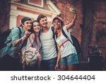 multiracial friends tourists... | Shutterstock . vector #304644404
