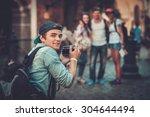 multiracial friends tourists... | Shutterstock . vector #304644494