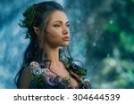 elf woman in a magical forest | Shutterstock . vector #304644539