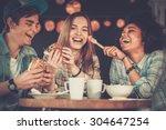 cheerful multiracial friends...   Shutterstock . vector #304647254