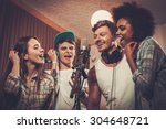 multiracial music band... | Shutterstock . vector #304648721