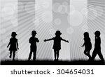 group of children's silhouettes | Shutterstock .eps vector #304654031