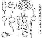 vector set of meatball  fish... | Shutterstock .eps vector #304660955