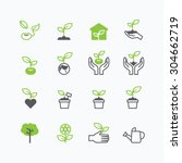 Plant And Sprout Growing Icons...