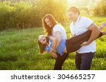 happy childhood  parents... | Shutterstock . vector #304665257
