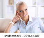 attractive businesswoman... | Shutterstock . vector #304667309