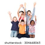 group of children posing with... | Shutterstock . vector #304668065
