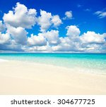 beautiful beach and tropical sea | Shutterstock . vector #304677725