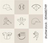baseball flat icons