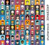 collection of avatars23   81... | Shutterstock .eps vector #304682069