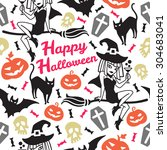 happy halloween seamless vector ... | Shutterstock .eps vector #304683041