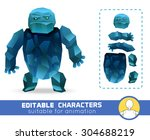 evil cartoon ice rock monster... | Shutterstock .eps vector #304688219