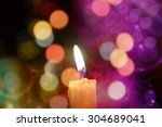 burning candle light on... | Shutterstock . vector #304689041