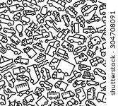 vehicles hand drawn outline... | Shutterstock .eps vector #304708091