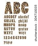 alphabet with tiger skin... | Shutterstock .eps vector #304710035