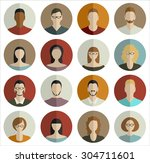 people faces circle icons set... | Shutterstock .eps vector #304711601