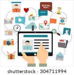 global social network abstract... | Shutterstock .eps vector #304711994