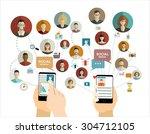 global social network abstract... | Shutterstock .eps vector #304712105