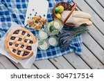cozy picnic near lake | Shutterstock . vector #304717514