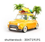 funny retro car with surfboard  ... | Shutterstock . vector #304719191