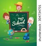 cute school children. school... | Shutterstock .eps vector #304734701