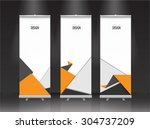 roll up banner stand design.... | Shutterstock .eps vector #304737209