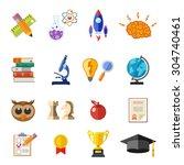 online education flat icon set... | Shutterstock . vector #304740461