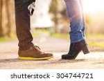 closeup of woman standing on... | Shutterstock . vector #304744721