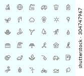 ecology icons  simple and thin... | Shutterstock .eps vector #304747967
