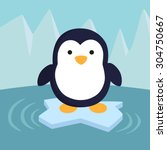 penguin in ice theme background.... | Shutterstock .eps vector #304750667