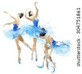 watercolor ballerinas dancing | Shutterstock .eps vector #304751861