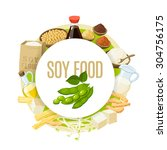 soy food label with soy milk ... | Shutterstock .eps vector #304756175