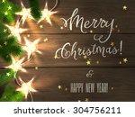 christmas design   merry... | Shutterstock .eps vector #304756211