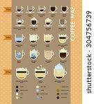 flat coffee types map retro...   Shutterstock .eps vector #304756739
