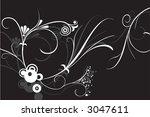flower ornament vector on black | Shutterstock .eps vector #3047611