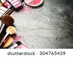 various makeup products in pink ... | Shutterstock . vector #304765439