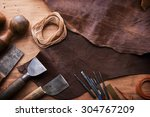 leather craftmans work desk .... | Shutterstock . vector #304767209
