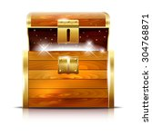 wooden chest with glowing... | Shutterstock .eps vector #304768871