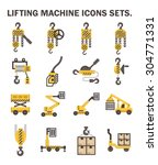 lifting machine icons sets. | Shutterstock .eps vector #304771331
