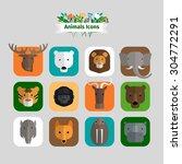 wild animals avatars in flat...