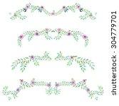 frame border  floral decorative ... | Shutterstock . vector #304779701