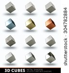 3d cubes with different metal... | Shutterstock . vector #304782884