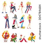illustrated set of girls on a... | Shutterstock .eps vector #304784684
