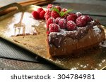 piece of cake with chocolate... | Shutterstock . vector #304784981
