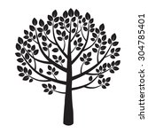 black shape of tree with leaves ... | Shutterstock .eps vector #304785401