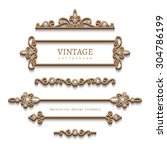 vintage gold jewelry vignettes... | Shutterstock .eps vector #304786199