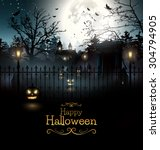 scary graveyard in the woods  ... | Shutterstock .eps vector #304794905
