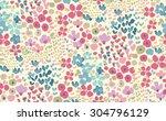 seamless cute flower vector... | Shutterstock .eps vector #304796129